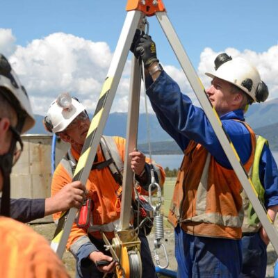 Confined space training class construction